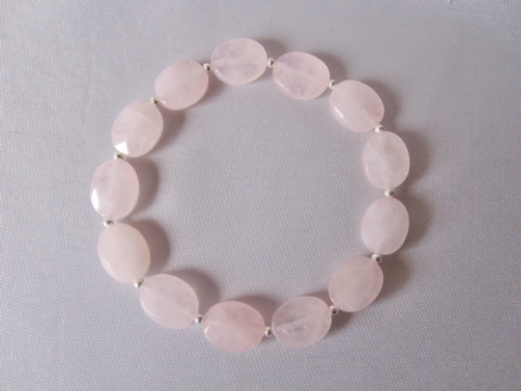 Faceted Baby Pink Rose Quartz Flat Oval Beads & Sterling Silver Bracelet
